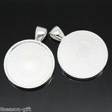50PCs Round Cameo Frame Settings Pendants Silver Plated
