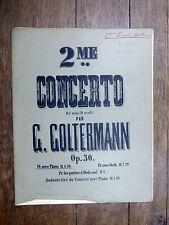 PARTITION ANCIENNE G. Goltermann 2e CONCERTO pr violoncelle (avec accomp. piano)