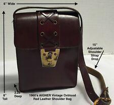 Vintage*Etienne Aigner*1960's*OXBLOOD Red*Leather Lace Up Shoulder Bag * Handbag
