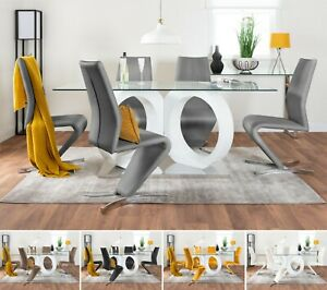 MODICA White High Gloss Glass Dining Table Set & 6 Faux Leather Dining Chairs