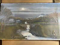 "Antique J.V Burton ""Stone Bridge And Landscape Scene"" Oil On Canvas Painting"