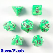 Pearl Poly 7 Dice RPG Set Green Purple Pathfinder 5e Dungeons Dragons D&D DND HD