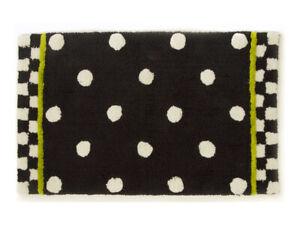 "MaMackenzie Childs DOTTY Black White Polka Dot BATH RUG Mat 21""x34"" NEWm20-de"
