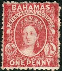 Bahamas 1863-77 1d Rose-Red  Wmk.Reversed  Perf.12.5  SG.23x  Mint No Gum