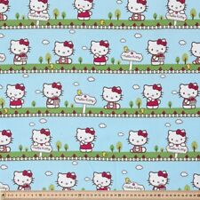 Fabric Hello Kitty Aqua Outdoors Fat Quarter Drill Cotton Quilting kids Material