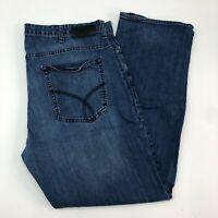 Calvin Klein Jeans Mens 40X32 Blue Straight Leg Regular Fit Medium Wash Zip Fly