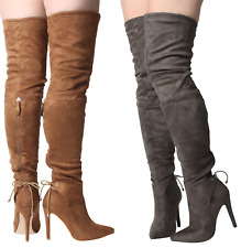 Ladies Womens Over The Knee Faux Suede High Stilleto Heel Brown Tan Laces Boots
