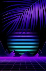 Abstract Retro 80's Purple Landscape Wall Art photo Posters/Canvas Pictures