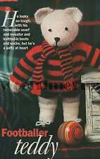 Vintage Knitting Pattern/Instructions Footballer Teddy Bear Toy.