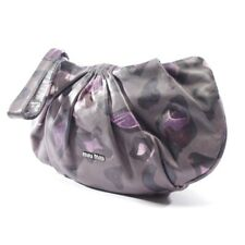 Miu Miu Clutch Grey Purple Women's Bag Sac Leather Purse Pochette Leather