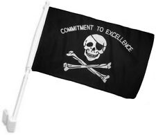 """12x18 Commitment to Excellent Pirate Skull Single Sided Car Vehicle 12""""x18"""" Flag"""