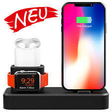 3 in 1 Ladestation für iPhone iWatch für Airpods Ladegerät schwarz
