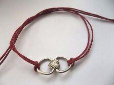 KARMASTRING deep red  tie-on bracelet . anklet silver colour heart charm love