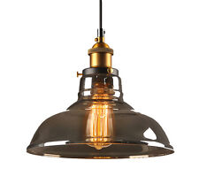 Industrial Retro Vintage Smoke Glass Lampshade Brass Pendant Light Ceiling