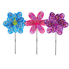 Doble capa Peacock Laser Sequins Windmill Colorido viento Spinners Juguete alUPH