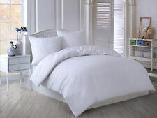 3 tlg. Mako-Satin Damast Bettwäsche Bettgarnitur 200x220 cm Streifen Stripe Weiß