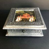 Vintage India Tin Silver Antique Design Embossed Metal Keepsake Box / Jewelry