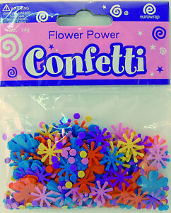 Flower Power Pink Purple Blue Party Confetti | Foiletti Decoration 14-84g
