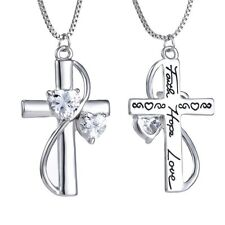 Engraved Mother's Day Gift Women Heart Faith Hope Love Cross Necklace Pendant