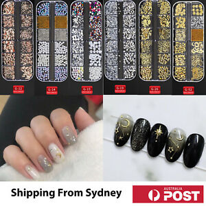3D Assorted Nail Decals Decoration Nail Art Rhinestones Mix Gem Designs Tips DIY