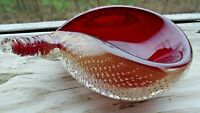 Murano Art Glass GOLD FLECK CONTROLLED BUBBLE Bullicante SHELL BOWL BARBINI
