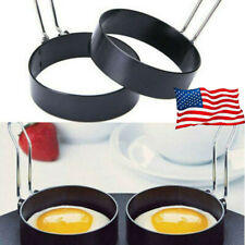 Metal Egg Frying Rings Mould Circle Round Fried/Poach Mould + Handle Non Stick