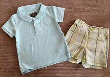 H&M Set Gr. 68 Polo-Shirt kurze Hose Shorts Jungen türkis kariert T-Shirt W NEU!