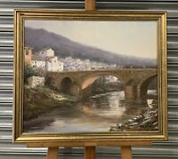 Oil Painting Of An Andalucian Spanish Village By River Scene By Manuel Cuberos
