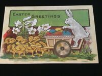 Antique Easter Embossed Postcard Rabbit with Cart with Eggs, Chicks Pulling