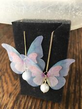 3D Rose Gold Colorful Butterfly Feather Silk Pearl Drop Stud Earrings Gift PE15