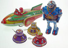SPACE THEME TIN TOY COLLECTION 1x ROCKET RACER  3x SPACE ROBOTS  1x ASTRONAUT