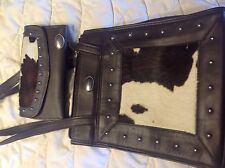 American West Small Satchel and Trifold Wallet Chocolate Brown Leather