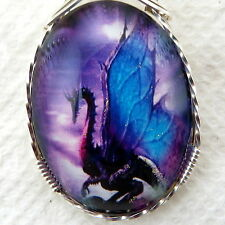 Blue Winged Dragon Glitter Glass Cameo Pendant .925 Sterling Silver Jewelry