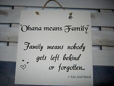 shabby chic wall plaque Handmade Disney Quote Lilo & Stitch Family Ohana Gift