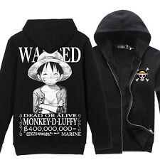 Anime One Piece Monkey D Luffy New Coat Sweatshirt Black Casual Hoodie Outerwear