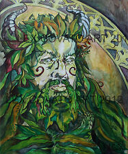 LEX Portrait Painting Art PAGAN wiccan Celtic THE GREEN MAN Original forest GOD