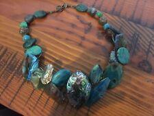 Handmade Australian Crystal Jewel Necklace-Stone Turquoise Quartz Copper Thread