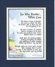 For My Brother With Love. #65, A Gift Present Poem For A Brother. 30th 40th 50th