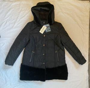 James Lakeland Size 16 Fur Panel Black Puffer Fur Panel Coat