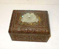 OLD 19TH CENTURY CHINESE BRONZE LOTUS WHITE JADE HUMIDOR JAR BOX