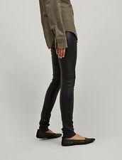 JOSEPH black leather stretch skinny leggings pants trousers FR42 UK14 US10 IT46