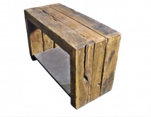 Antique rustic wood bench and steel A3168