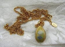 """Joan Rivers YELLOW ISH Egg Pendant Necklace  32"""" BLUE FLOWER FORGET ME NOT ?"""