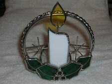 Stained Glass Votive Christmas Candle Holder - Silver