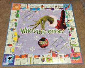 WHOVILLE-OPOLY Grinch Christmas Replacement Piece Part GAME BOARD ONLY
