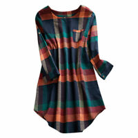 Femmes Été Casual Plaid Checked Mini Dress Tunique Top T-Shirt Party Long tops
