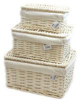 Arpan Lidded Wicker Storage Xmas Hamper Basket With White  Lining in 3 Size