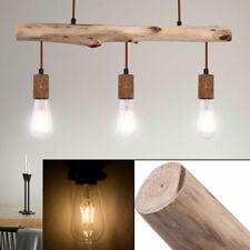 Retro Holz Hänge Decken Leuchte rostfarben Gäste Zimmer Vintage Pendel Lampe