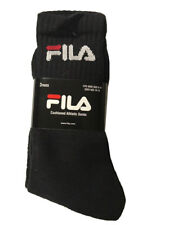 Fila Men's 3-Pack Cushioned Athletic Socks Black 10-13 DBFL