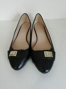 AUTOGRAPH M&S Ladies Size 8 UK Black Leather Slip on Flat Shoes VGC Wider Fit